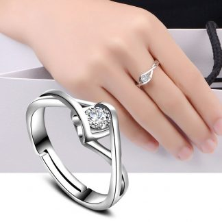 Adjustable Clear Zircon Crystal Women Fashion Jewelry Ring