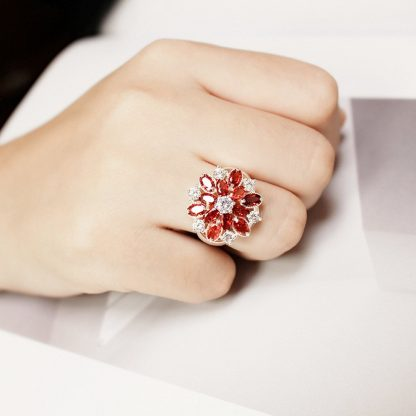 Lovely Red Flower CZ Crystal Women Fashion Jewelry Ring