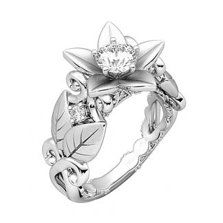 Elegant Flower Leaf Crystal Women Fashion Jewelry Ring