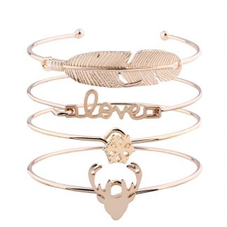 Four Multi-Layer Leaf Love Snow Elk Bracelets Handmade Set