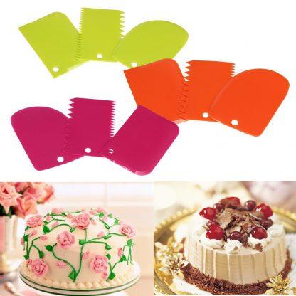 Useful Dough Scraper Cake Decorating Baking Tools Smooth Jagged Edge Spatulas