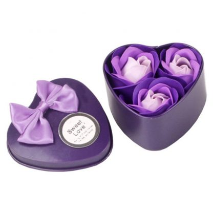 3 Pieces Heart Scented Bath Body Petal Rose Flower Soap