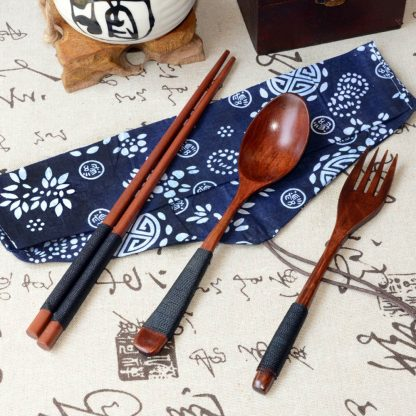 Tableware Wooden Chopsticks Spoon Fork Set