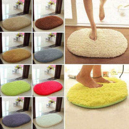 Anti-Skid Oval Fluffy Shaggy Area Rug Home Floor Mat