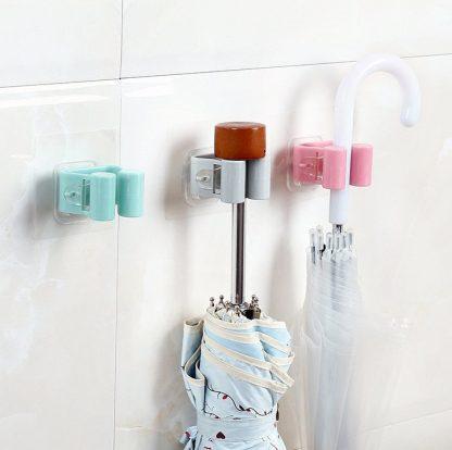 Mop Rack Bathroom Wall Mounted Umbrella Holder Brush Broom Hanger Storage