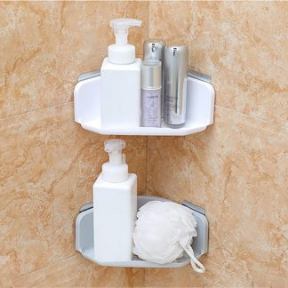 Bathroom Kitchen Corner Rack Shelf Plastic Suction Cup
