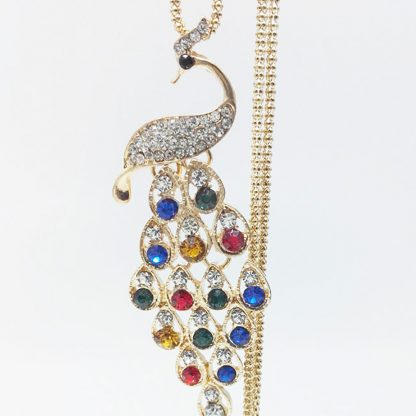 Multi-Color Crystal Peacock Women Pendant Necklace