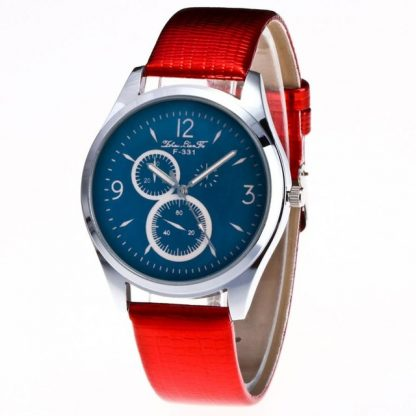 Graceful Quartz Movement PU Leather Unisex Men Women Wrist Watch