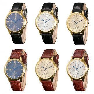 Analog Alloy Quartz Men Wrist Watch Leather Band Sport Watch