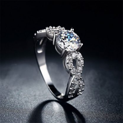 Elegant Braid Band Design Crystal Zircon Women Fashion Jewelry Ring