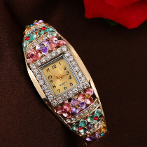 variaGorgeous Square Surface Bangle Crystal Flower Quartz Women Watch tions