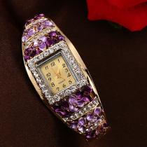 Gorgeous Square Surface Bangle Crystal Flower Quartz Women Watch