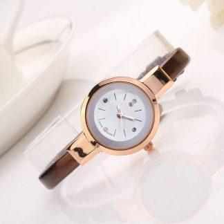 Simple Round Quartz Analog PU Leather Women Wrist Watch