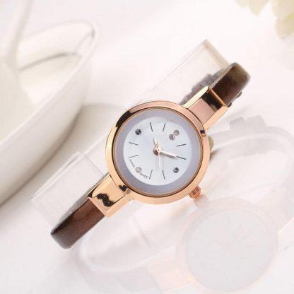 Simple Round Quartz Analog PU Leather Women Wrist Watch