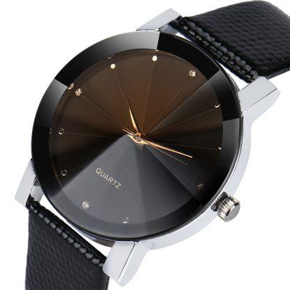 Elegant Round Black PU Leather Movement Quartz Men Wrist Watch