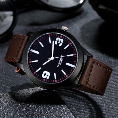 Simple Leather Band Analog Quartz Round Men Wrist Watch