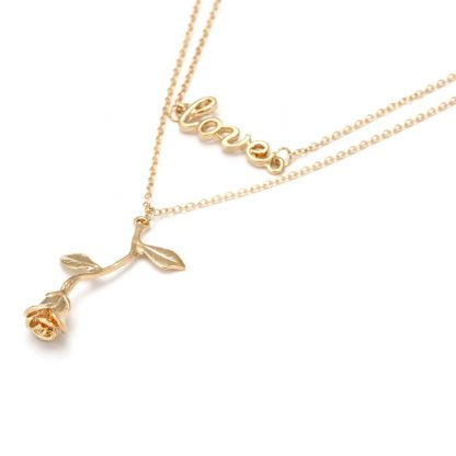 LOVE Design Double Chains Rose Women Fashion Jewelry Pendant Necklace