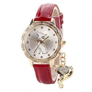 Luxury Diamond Analog Leather Women Quartz Wrist Watches