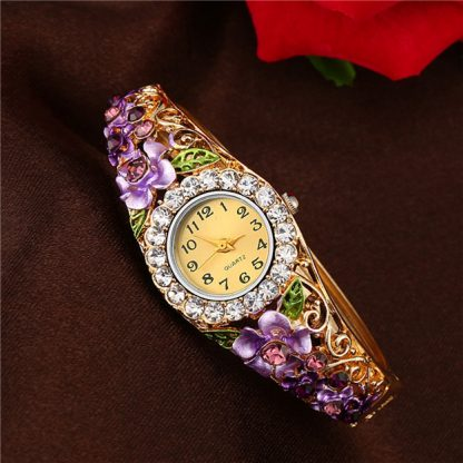 Numeric Crystal Rhinestones Flower Bracelet Women Quartz Watch