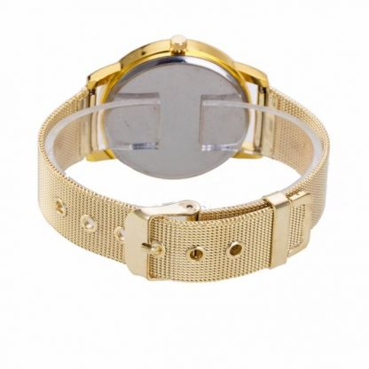 Elegant Rhinestone Golden Stainless Steel Analog Quartz Wrist Watch