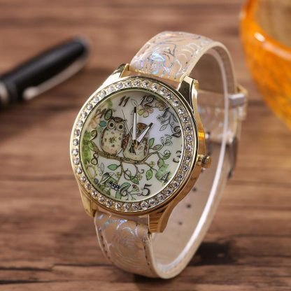Beautiful Owls Pattern Design Rhinestone Women Girls Quartz Watch