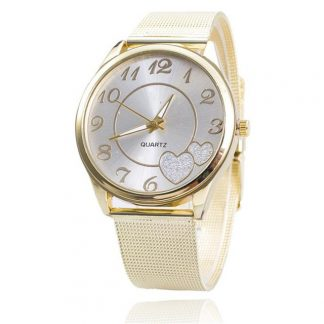 Heart Rhinestone Numeric Round Surface Gold Mesh Band Women Wrist Watch