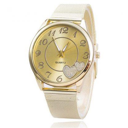 Heart Rhinestone Numeric Round Surface Gold Mesh Band Women Wrist Watch