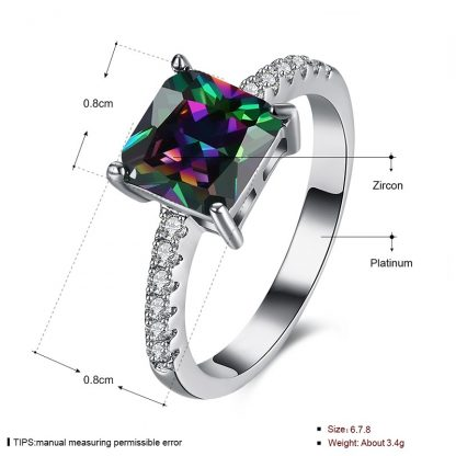 Multi-Colors 18 K White Gold Plated Women Fashion Jewelry Ring