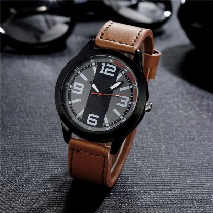 Stainless Steel Leather Band Analog Quartz Men Wrist Watch
