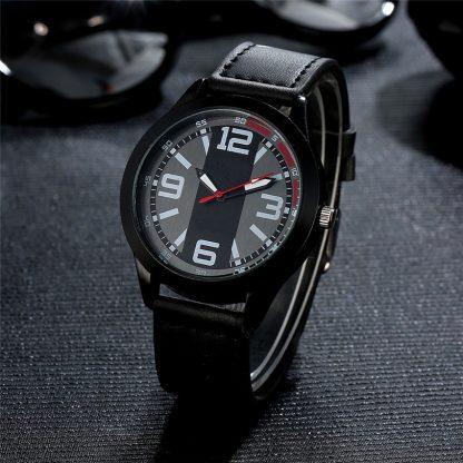 Stainless Steel Leather Band Analog Quartz Men Wrist Watch