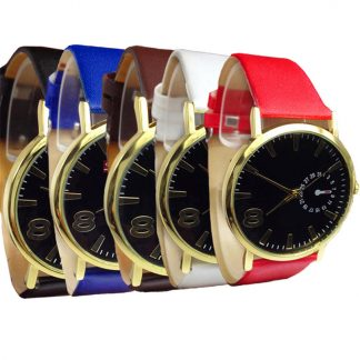 Unisex Faux Leather Strap Quartz Analog Wrist Watch