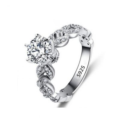 Luxury Sparkling Sterling Silver Plated Zircon Women Fashion Ring