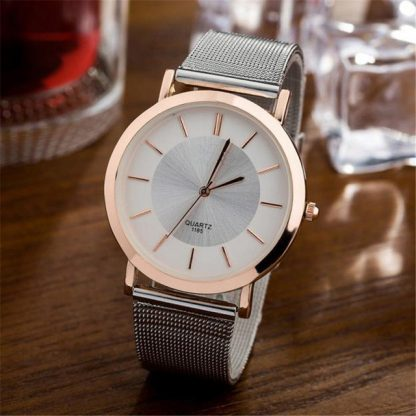 Stylish Design Simple Slim Casual Men Women Couple Wristwatch