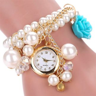 Charming Pearl Rose Linked Watch Women Fashion Bracelet Watch