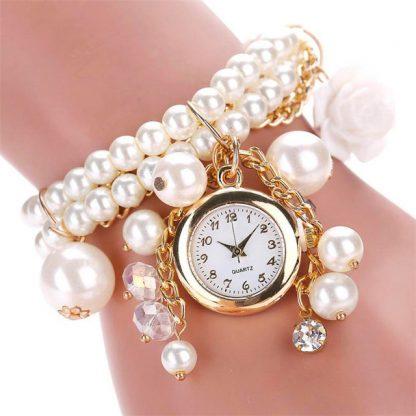 Charming Pearl Rose Linked Watch Women Fashion Bracelet Watch