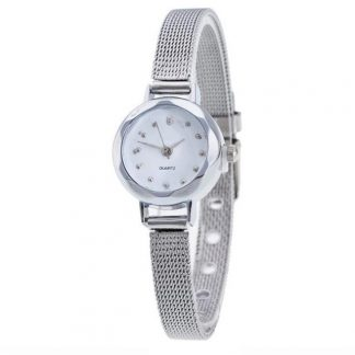 Stainless Steel Mesh Band Watch Women Ladies Quartz Wrist Watch