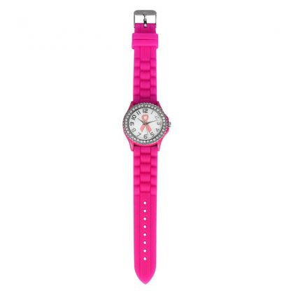 Rhinestone Cancer Dial Quartz Analog Silicone Band Women Girls Wrist Watch
