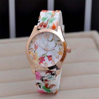 Bright Silicone Spring Theme Flower Printed Quartz Women Girls Wrist Watch