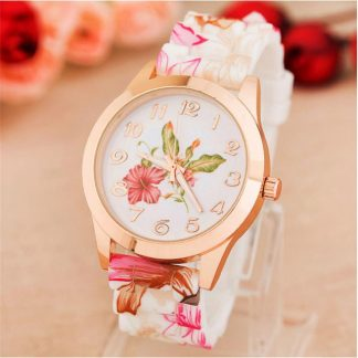 Bright Silicone Spring Theme Flower Printed Quartz Women Girls Wrist Watch