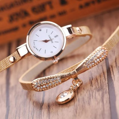 Golden Multi-Layers Leather Rhinestone Analog Quartz Women Wrist Watch