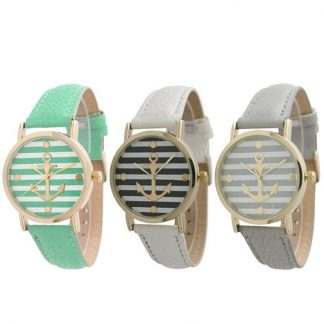 Striped Anchor Leather Band Analog Quartz Women Wrist Watch