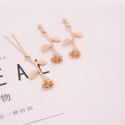 Rose Pendant Necklace Earrings Set Women Fashion Jewelry