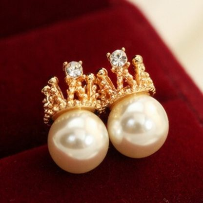 Crown Crystal Faux Pearls Stud Earrings Women Fashion Jewelry