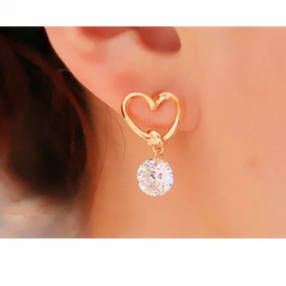 Heart Crystal Rhinestone Drop Earrings Women Fashion Jewelry