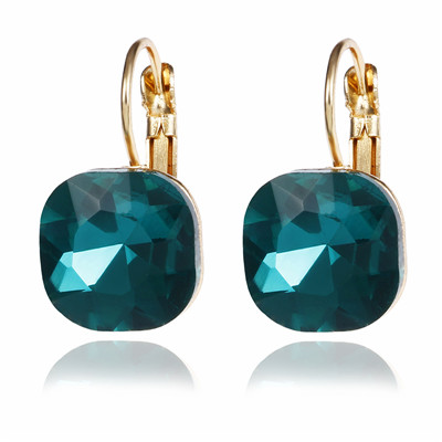 Classy Crystal Square Stud Earrings Women Fashion Jewelry