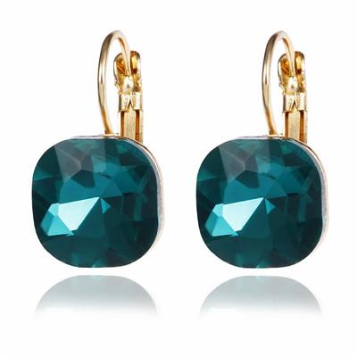 Classy Crystal Square Stud Earrings Women Fashion Jewelry