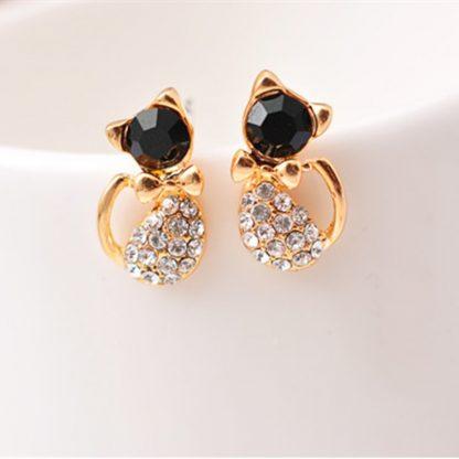 Black Crystal Rhinestones Cat Stud Earrings Women Fashion Jewelry