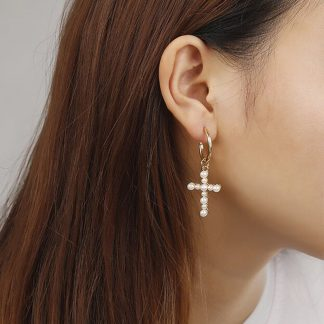 Pretty White Cross Faux Pearls Drop Earrings Women Fashion Jewelry