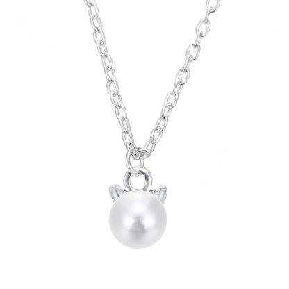 Cat Head Faux Pearl Women Earrings Pendant Necklace Jewelry Set