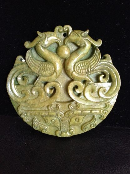 Double Phoenix Big Jade Wall Window Hanging Pendant